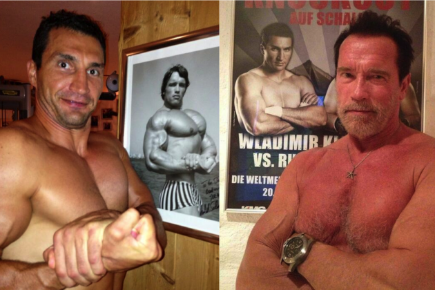 Wladimir Klitschko-Arnold Schwarzenegger Topless Bromance Hits Twitter