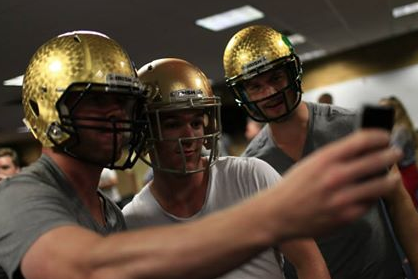 Photos: Blackhawks Hold Training Camp at Notre Dame, Try on Irish Gear