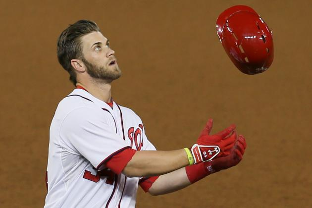 Bryce Harper Smashes Bat in Dugout After Striking out