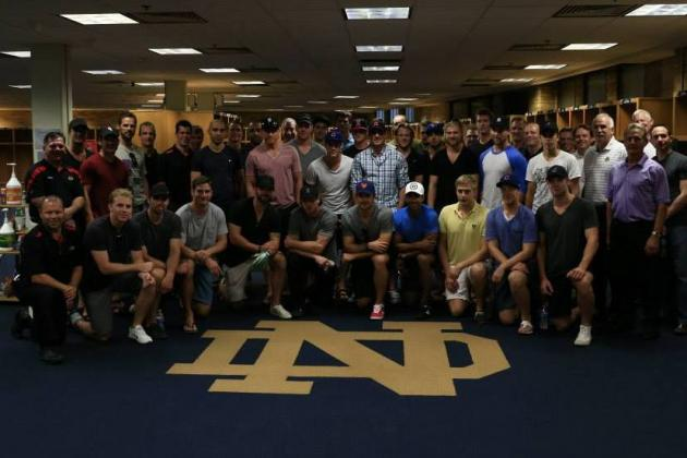 Chicago Blackhawks Train at Notre Dame Facilities, Try on Irish Gear