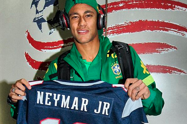 Neymar Shows Off Patriots Jersey