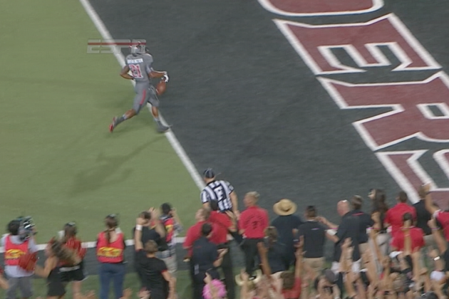 Texas Tech's DeAndre Washington Drops the Ball Before the End Zone