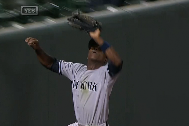 Alfonso Soriano Robs Manny Machado With Sick Jumping Catch at Left Field Wall