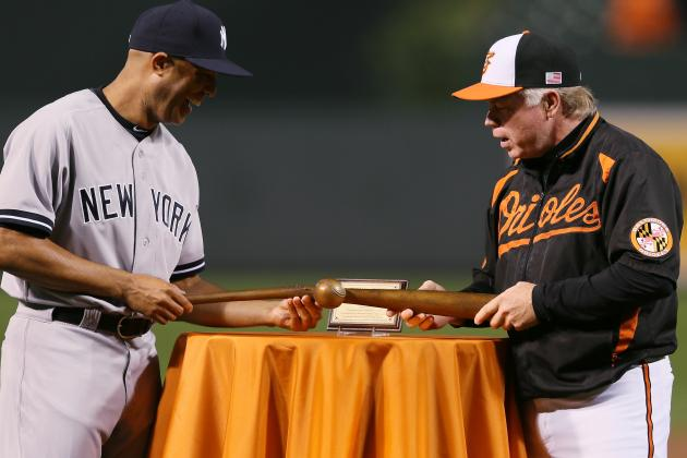 Orioles Honor Mariano Rivera with Bronze Sculpture of a Ball Breaking a Bat