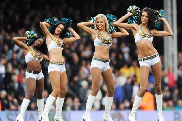 See Jacksonville Jaguars Cheerleaders Perform at Fulham vs West Brom
