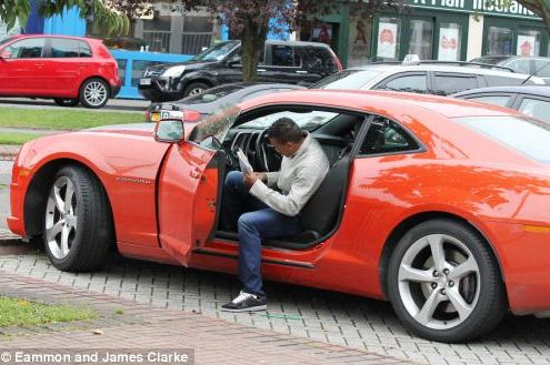 Manchester United's Nani Parks His Red Chevrolet in a Disabled Bay