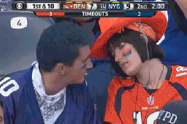 This Drunk Couple Making out at Broncos-Giants