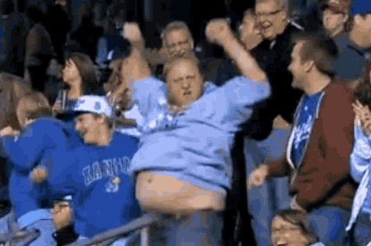 Dancing Kansas City Royals Fan Shakes Belly to Celebrate Lorenzo Cain Triple
