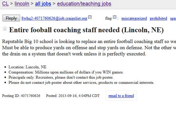 Nebraska Fan Posts 'Help Wanted' Ad on Craigslist