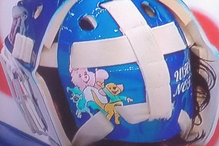 NHL Goalie's Mask Has Care Bear, Winnie the Pooh, and My Little Pony Characters