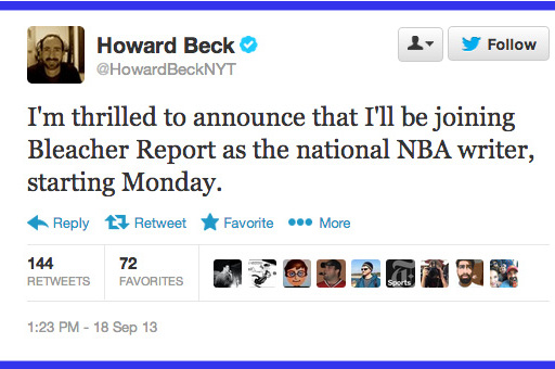 Twitter Reacts to Bleacher Report's New Hires Howard Beck, Kevin Ding and More