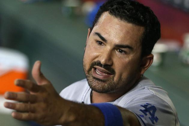 Adrian Gonzalez out with Sore Quad