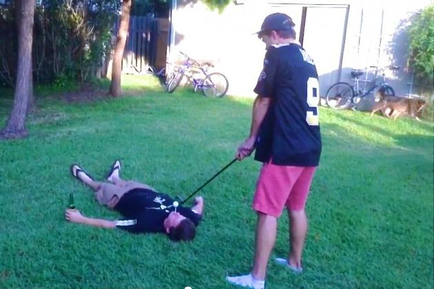 Bros Hit Golf Ball off Buddy's Face and Manage to Spear His Tongue with Tee