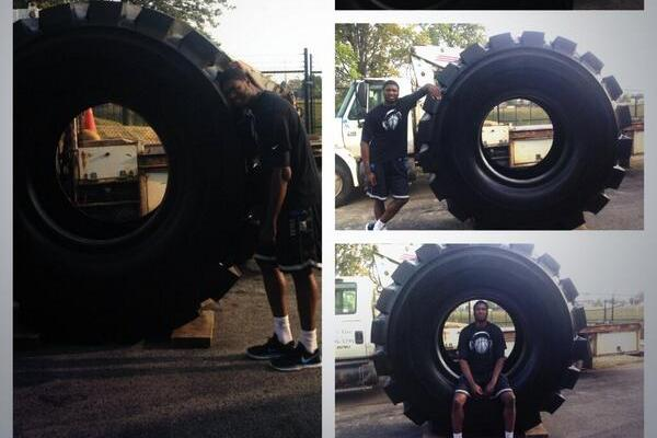 Image: Goodyear Sends Roy Hibbert 1.5 Ton Tire