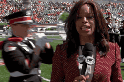 Fox Sports' Sideline Reporter Pam Oliver Almost Gets Trucked by Marching Band
