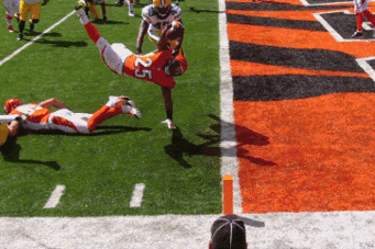 Cincinnati Bengals Running Back Giovanni Bernard Leaps Backwards for a Touchdown
