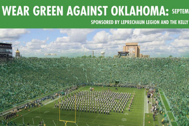Notre Dame Calling All Fans to Wear Green for OU Game