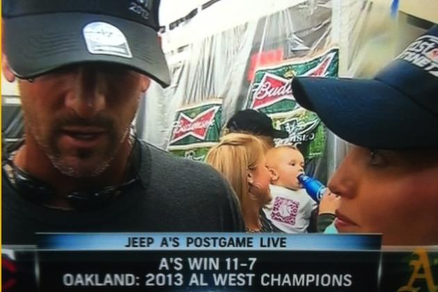 Adorable Baby Shows Up to Drink Beer as Oakland A's Clinch AL West