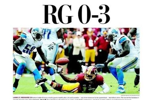 The Washington Post Blasts Robert Griffin III with 'RG 0-3' Nickname