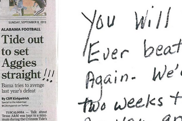 Alabama Football Fan Sends Texas A&M Team Old-School Trash Talk Via Mail