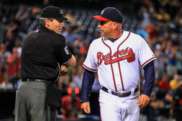Fredi Gonzalez Ejected After Angel Hernandez Refuses to Give Braves HBP