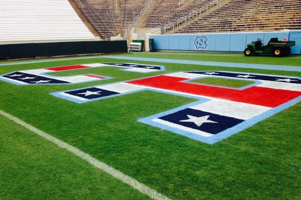 "Photo: UNC Going with Stars/Stripes ""Carolina""- Painted End Zones"