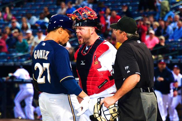 Carlos Gomez and Freddie Freeman Ejected as Benches Clear in Brewers-Braves