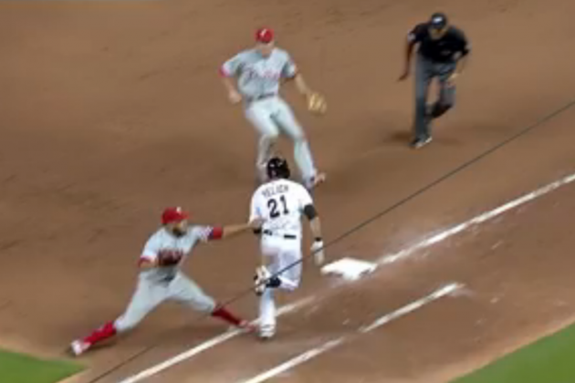 Phillies vs. Marlins Video: Watch Umpire CB Bucknor's Awful Call on Phantom Tag