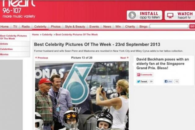 Radio Station Spots 'Elderly Fan' Next to David Beckham, Is in Fact Niki Lauda