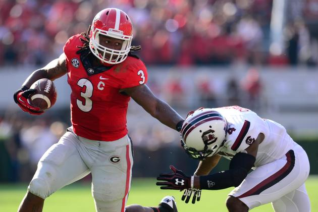 LSU vs. Georgia: Comparing RBs Jeremy Hill and Todd Gurley