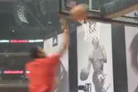 Rose Throws Alley Oop for Reverse Slam at Shoe Unveiling