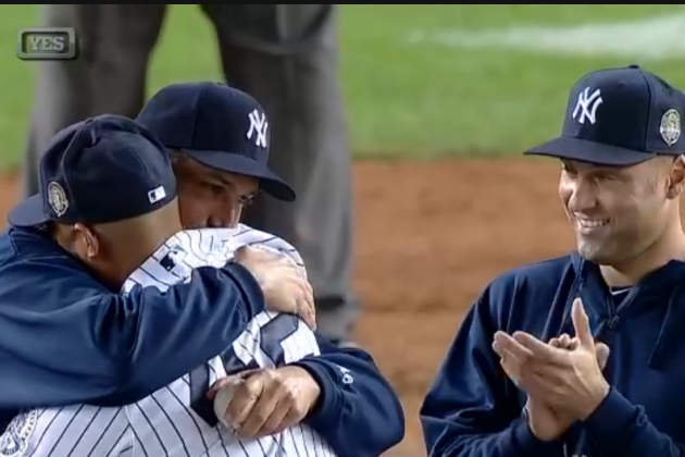 Mariano Rivera Pulled by Derek Jeter, Andy Pettitte in Yankees Stadium Sendoff