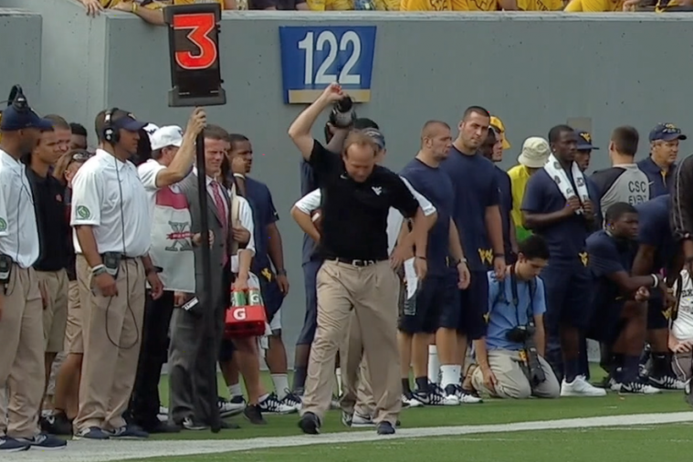 WVU Head Coach Dana Holgorsen Tosses Headset in Sideline Fit