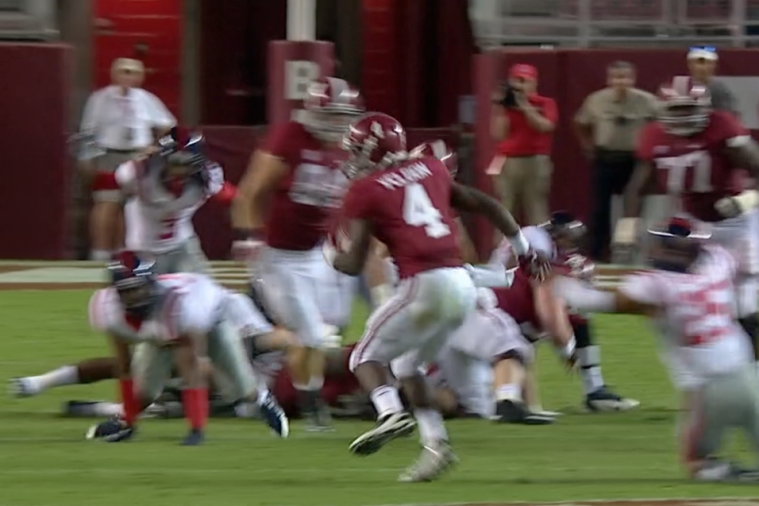 Alabama RB T.J. Yeldon Breaks out on a 68-Yard TD Run vs. Ole Miss