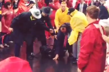 "Video: Bret Bielema Slipped and Fell to His Knees During ""Hog Walk"""