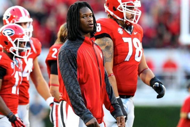 LSU vs. Georgia: Todd Gurley's Heisman Hopes Hampered by Ankle Injury