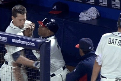 Braves 1B Coach Terry Pendleton Shoves Chris Johnson in Dugout Altercation