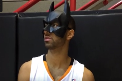 Kendall Marshall Wears Batman Mask at Media Day