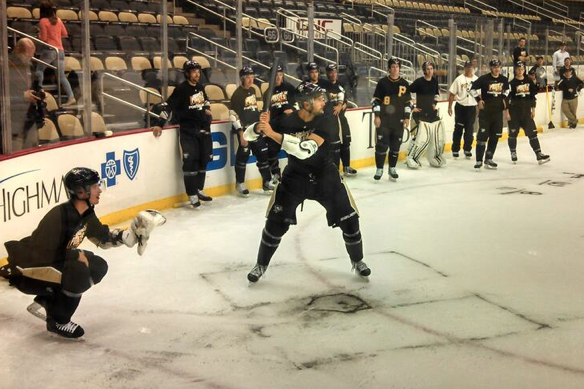 Pens Honor Pirates by Playing Baseball on Ice