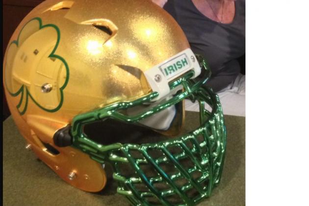 Notre Dame: Two-Toned Gold Shamrock Helmets Are Opulent