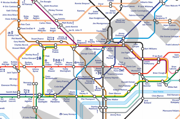 FA Mark 150th Anniversary with London Tube Map Based on Footballers