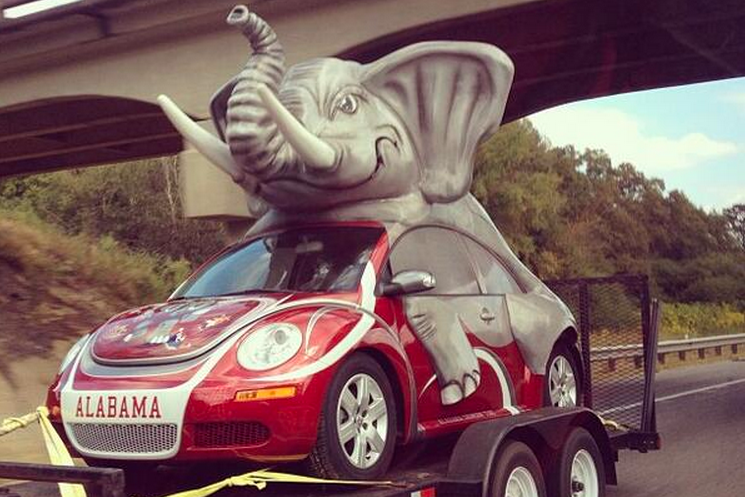 Elephant on Crazy Alabama Football Car Looks Like It's Doing Something Naughty