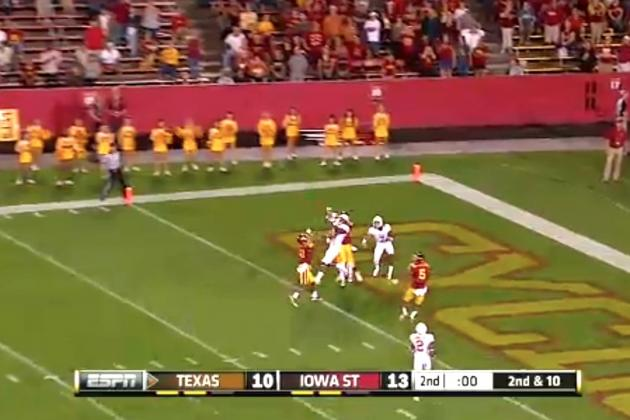Texas QB Case McCoy Completes Hail Mary TD Pass to Take a Halftime Lead