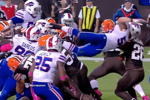 Buffalo Bills Rookie LB Kiko Alonso Dives over Entire Offensive Line