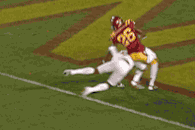 Texas' Mike Davis Takes out Iowa State's Deon Broomfield with Cheap Shot to Knee