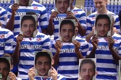Reading Players Pay Tribute to Injured Jem Karacan at Team Photo Shoot