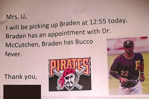 Pirates Fan's Great Excuse to Leave School