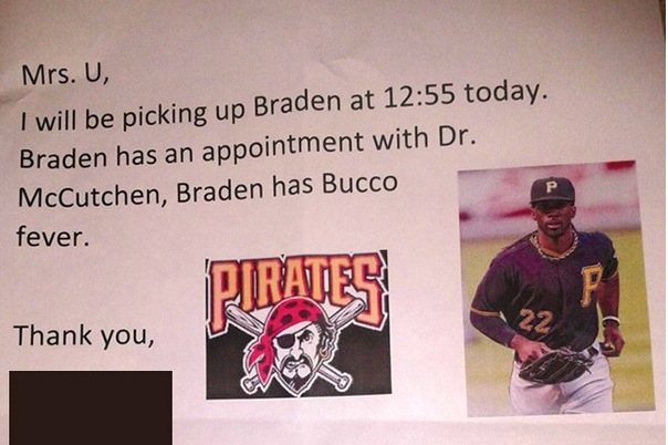Pirates Fan Produces Picture-Perfect Doctor's Note to Get Kid out of School
