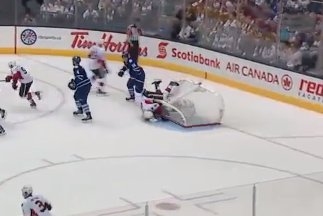 Jonathan Bernier Has Net Fall on Him Video