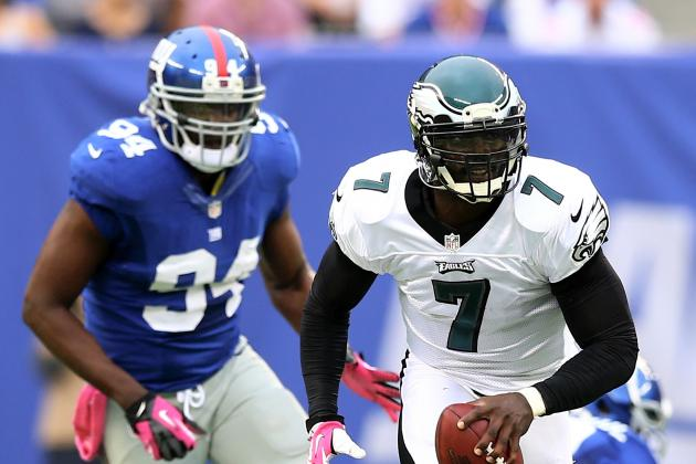 Mike Vick Exits Games vs. Giants; Nick Foles Replaces